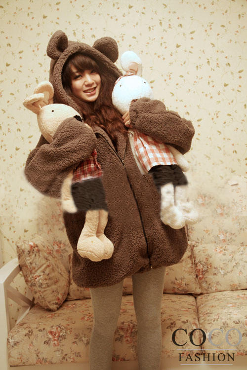 Brown comfortable oversize comical ears hoodie with zipped