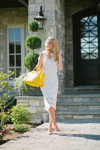 ivory lane blogger shoes white dress lace dress white lace dress yellow bag white heels lace skirt eyelet skirt eyelet detail midi skirt white skirt floral skirt pencil skirt lace top eyelet top white top short sleeve white lace top bag pumps pointed toe pumps high heel pumps white pumps