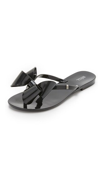 bow sandals black shoes