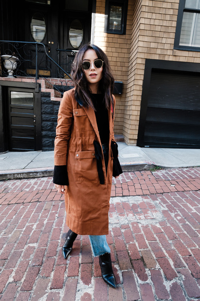 coat tumblr brown coat sweater black sweater jeans denim blue jeans boots black boots sunglasses