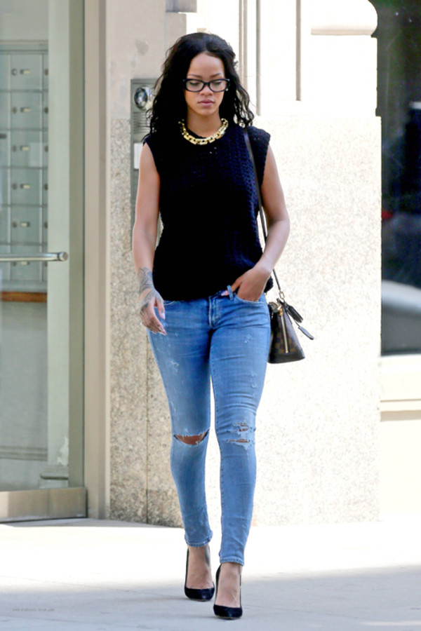 jewels rihanna necklace jeans bag glasses