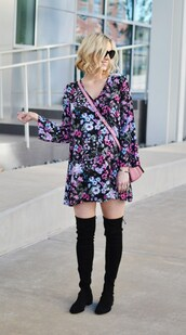 straight a style,blogger,dress,bag,sunglasses,jewels,shoes,floral dress,long sleeves,mini dress,knee high boots,suede boots,shoulder bag,pink bag