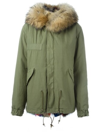 parka short fur fox women cotton green coat