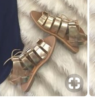 shoes metallic strappy flat sandals sandals