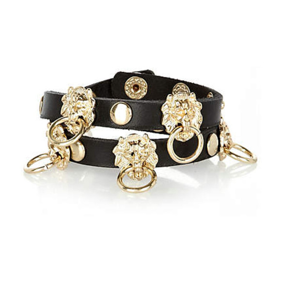 wrap bracelet bracelet jewels leather black gold lion head lion door knockers