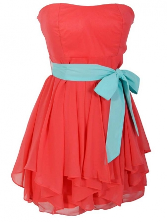 Coral lotus leaf edge chiffon prom dress / bridesmaid dress [D0044] - $132.99 : 24inshop
