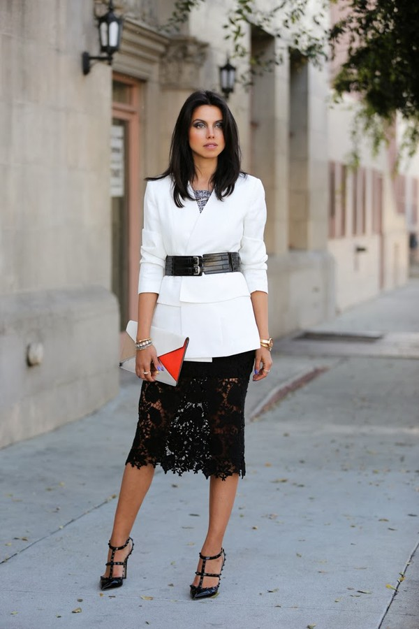 Black lace pencil skirt - lace midi skirt - $76