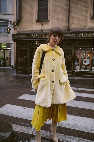 coat yellow skirt midi skirt fur coat pleated yellow coat yellow pleated skirt all yellow everything