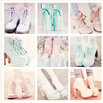 shoes pastel high heels pumps blue mint green pink bow
