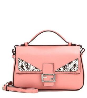 embellished bag shoulder bag leather pink