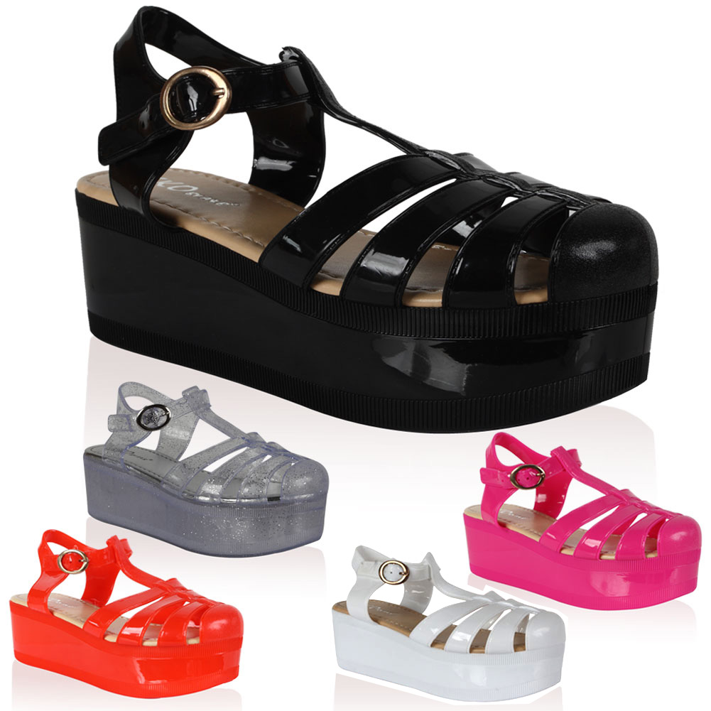 Womens Platform Womens Cut Out Chunky Jelly Summer Sandals Shoes Size 5 10 | eBay