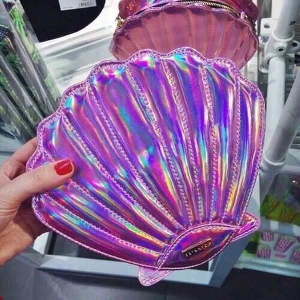 bag purse clutch mermaid shell purple