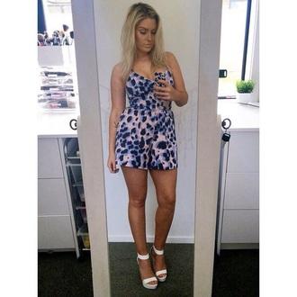 dress blue purple playsuit cheetah print white shoes help me find