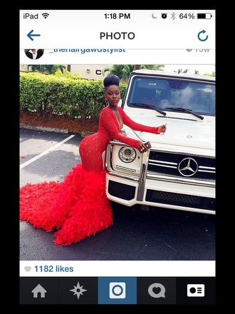 red dress feathers prom feather dress full length ball