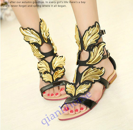 Angel Wing Open Toe Leather Gladiator Party Roman Pumps Lady Flat Sandals Shoes | eBay