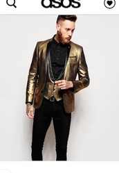 jacket,clothes,mens blazer,gold