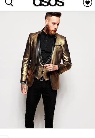 jacket clothes mens blazer gold