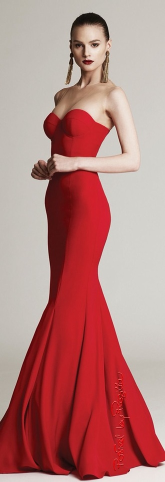 dress red dress mermaid prom dress evening dress fitted prom dress