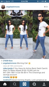 t-shirt,Angela Simmons,jeans