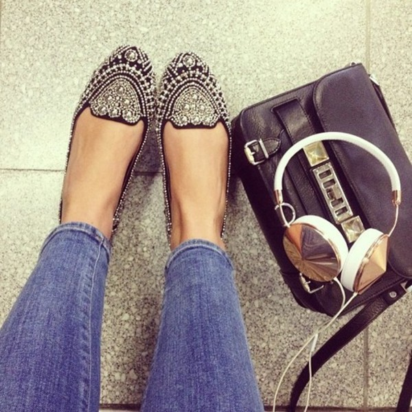 smoking slippers flats studs embellished headphones studded shoes black leather bag black and gold