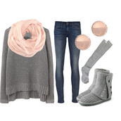 shoes,ugg boots,jeans,cute,winter look,winter sweater,earrings,sweater,jewels,scarf,underwear,light pink,blouse,grey knitted sweater,top,in love,grey sweater,sunglasses