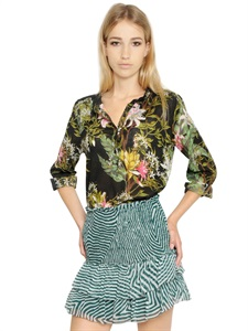 Floral printed cotton voile shirt