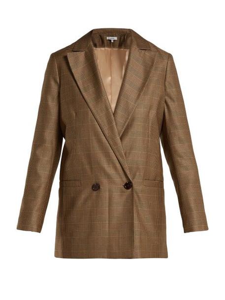 Ganni - Merkel Checked Silk And Wool Blend Blazer - Womens - Brown