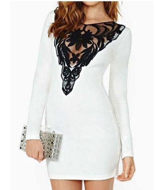 ad876c057a68 dress black and white dress white and black bodycon dress black lace panel long  sleeve bodycon