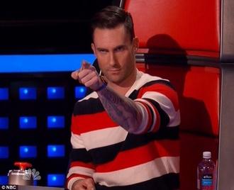 black sweater red white stripes the voice adam levine striped sweater
