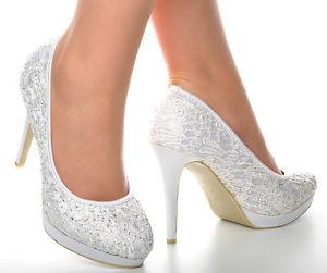 Satin Off White Crochet Lace Diamante Wedding High Heels Platform Bridal Shoes