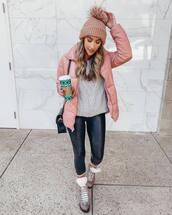 jacket,pink jacket,leggings,socks,black bag,sweater,knit,hat
