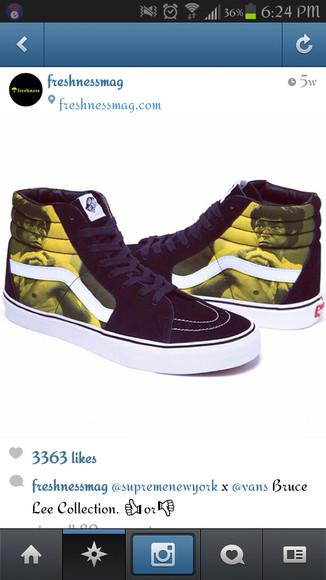 shoes vans white yellow bruce lee black