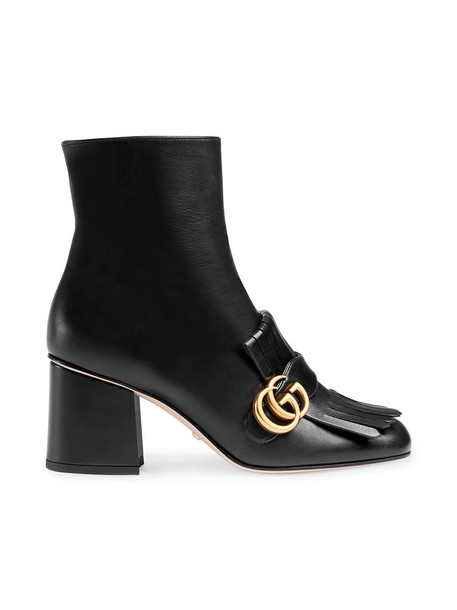 gucci metal women ankle boots leather black shoes