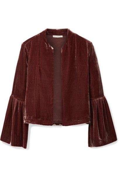 Ulla Johnson jacket cropped velvet burgundy