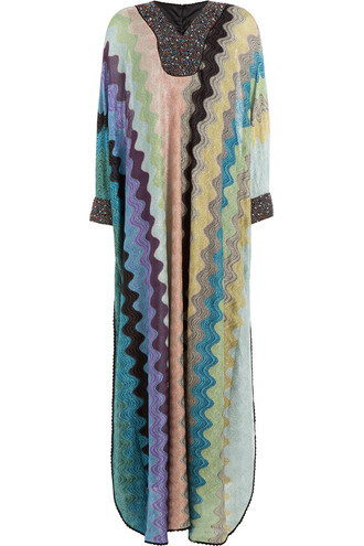 dress maxi dress maxi knit embellished crochet multicolor