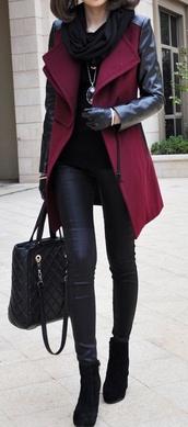 jacket,burgundy,trench coat,coat,cardigan