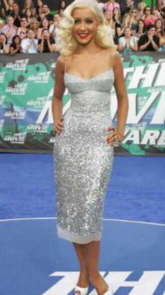 dress christina aguilera sequin dress backless dress mid length dress maxi-length slit dress silver dress white dress shimmer dress