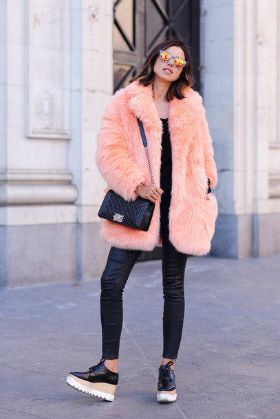 viva luxury blogger leather leggings platform shoes pink coat faux fur black bag mirrored sunglasses big fur coat orange coat fur coat fur bag chanel chanel bag chanel boy black top black leggings leggings black shoes stella mccartney
