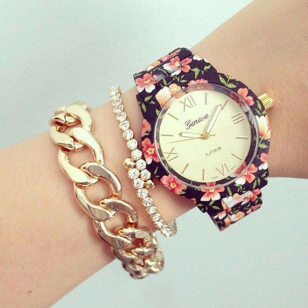 jewels watch floral flowers pink red black jewelry gold cute .vintage america boho bohemian grunge.hipster harajuku love quote on it quote on it chanel vogue bracelets
