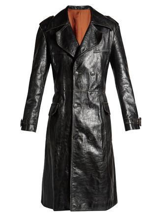 coat trench coat leather black