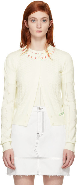 Carven cardigan cardigan embroidered white off-white sweater