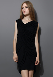 dress,wrap,boycon dress,twin-set,black