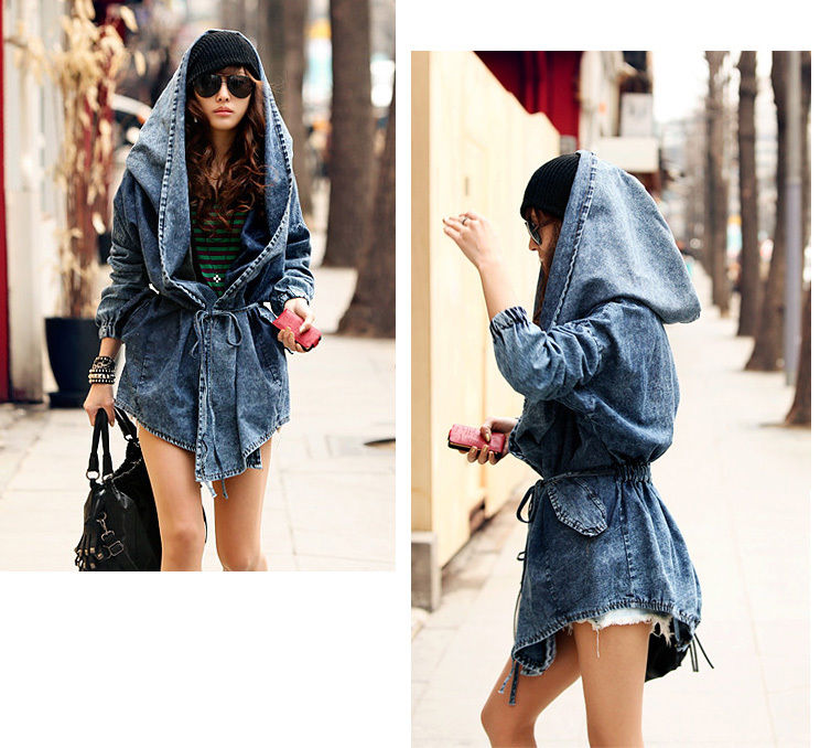 Fashion Women Lady Denim Trench Coat Hoodie Hooded Outerwear Jean Jacket Cool | eBay