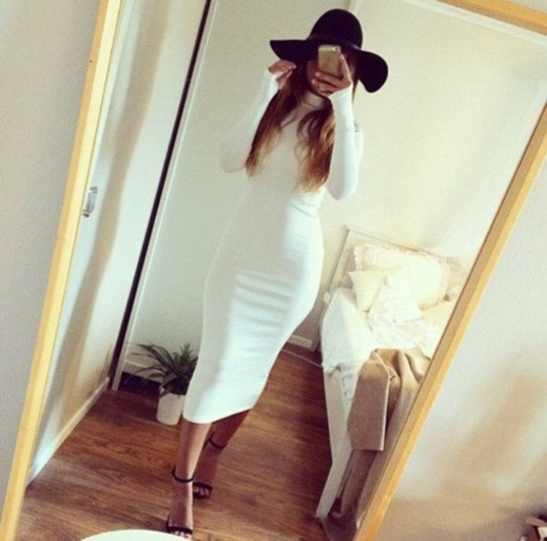 dress turtleneck bodycon dress white dress 2015 dress sexy dress midi dress