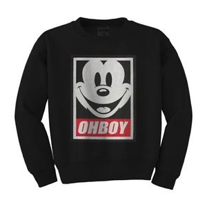 OHBOY MICKEY MOUSE OBEY PARODY COOL UNISEX CREW NECK SWEATSHIRT *S, M, L, XL