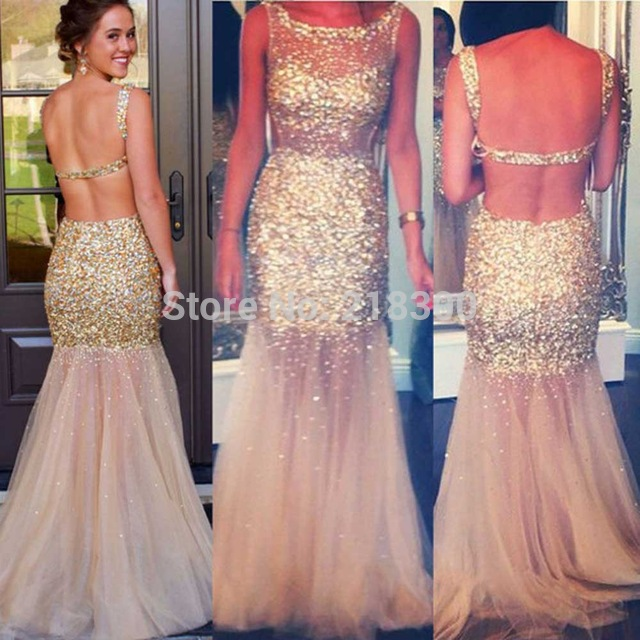 Aliexpress Buy Champagne Backless Prom Dresses Sparkly Beaded
