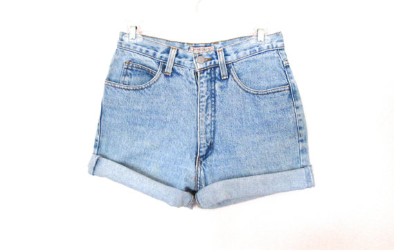 90's Guess High Rise Denim Cut Offs size  S/M by NightAfterNight