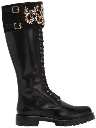 leather boots leather gold black shoes