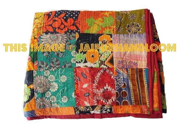 Sari Cotton kantha quilt bedspread blanket throw