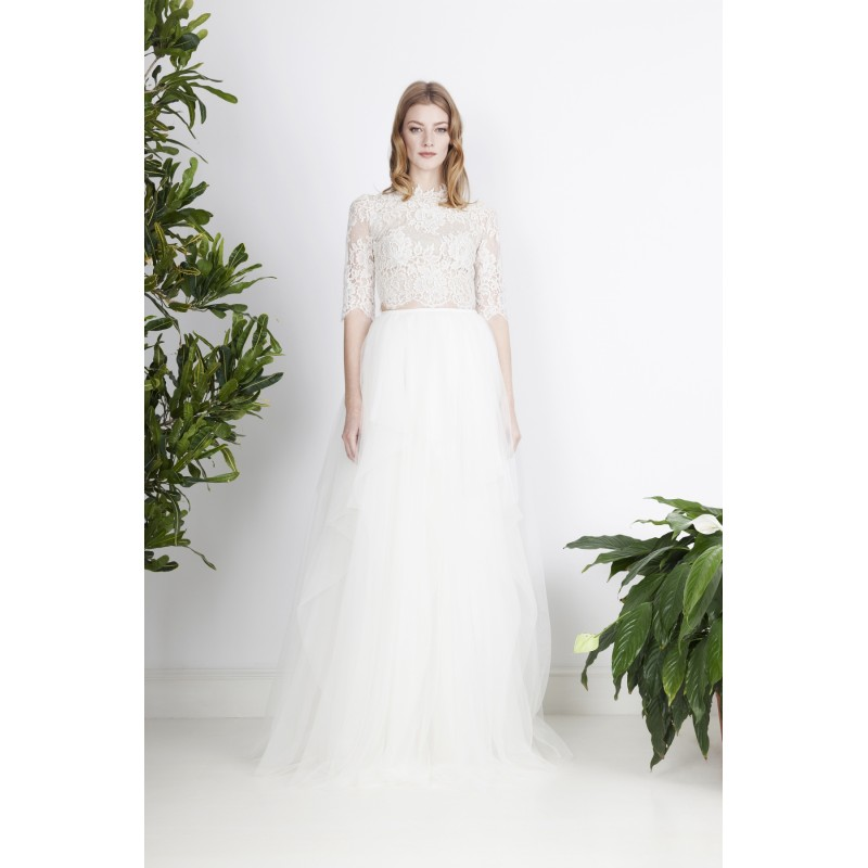 Divine Atelier 2017 Candide Outfit Sweep Train Ivory 1/2 Sleeves High Neck Ball Gown Appliques Tulle Wedding Dress - Truer Bride - Find your dreamy wedding dress